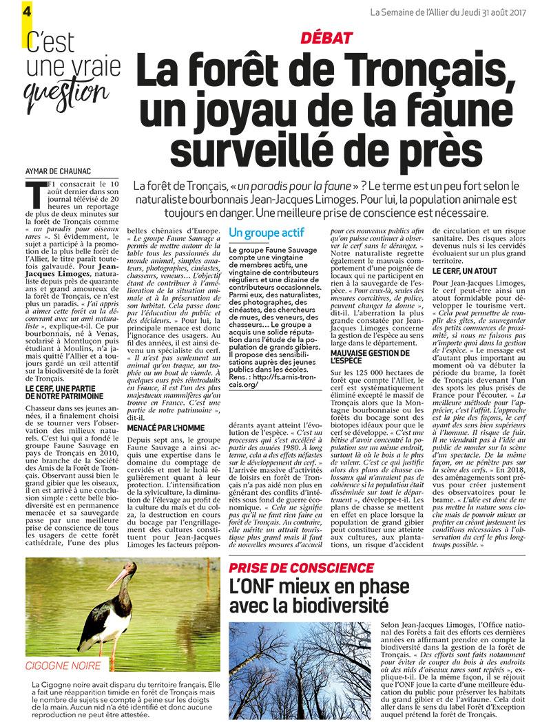 Publication Semaine de l'Allier Août 2017