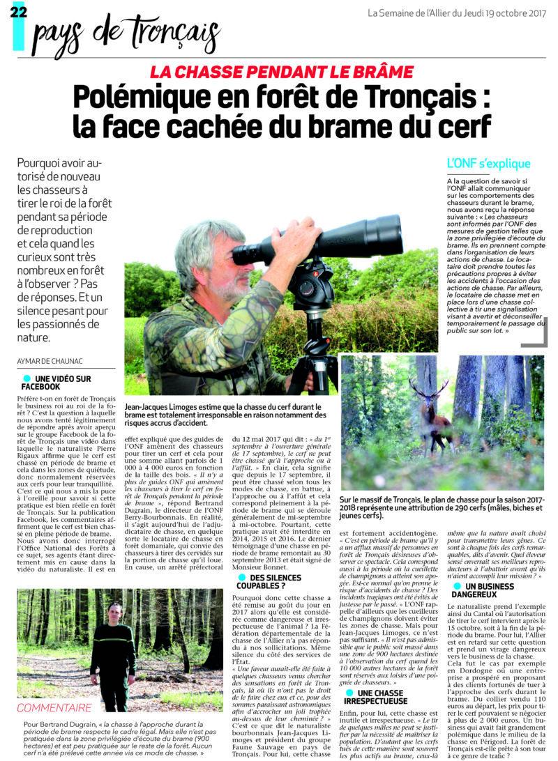 Polémique en forêt de Tronçais, 2017